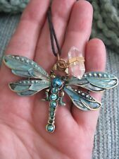 New Aqua Mystic Charmer Jeweled Dragonfly Pendant W/Natural Quartz Crystal Point
