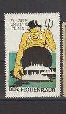German Poster Stamp Wwi Der Flottenraub Artist Krotowski