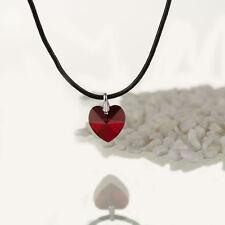 Halskette, Lederkette mit SWAROVSKI ELEMENTS Herz Farbe Siam