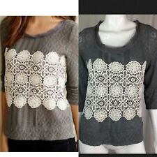 $78 Anthropologie Meadow Rue Womens Medium Gray Knit Ivory Lace Floral White Top