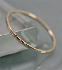10k SOLID yellow Gold 1mm Wedding Stacking Band Ring Hammered  SJR0012