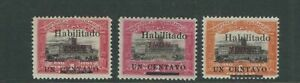 PARAGUAY 1908-09 GOVERNMENTAL PALACE ASCUNCION (Scott 171-173) F MLH fresh