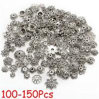 100/150X Retro Silver/Bronze Tone Flower Bead Caps Finding 8mm U Choose Jewelry