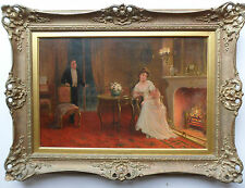 SYDNEY PERCY KENDRICK 1874-1955 ORIGINAL SIGNED OIL ON CANVAS BEAUTY BY THE FIRE