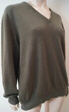 LORO PIANA Khaki Brown Baby Cashmere V Neck Long Sleeve Jumper Sweater Top L