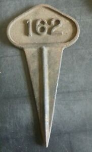 Antique Victorian Cast Iron Grave Marker Sign Quirky House Number 162 Goth Wicca