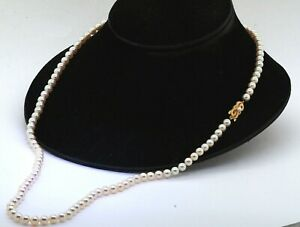 "Mikimoto 3.5 - 6.5mm pearl 29.75"" long strand necklace w/ 18K yellow gold clasp"