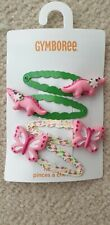 Gymboree Girls Hair Snap Clips with crocodile/ butterfly