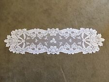 New Ivory Lace Christmas Horn Design Table Runner/Scarf 54 x 14