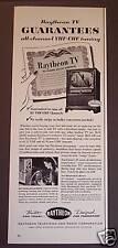 Original 1953 Raytheon Television TV Sets vintage ad