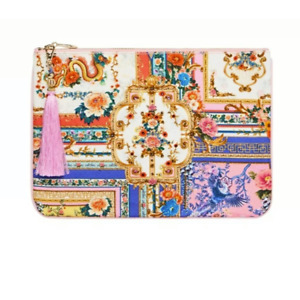 """NWT $99 CAMILLA """"PARTY in the PLAYHOUSE"""" WHITE FLORAL CRYSTAL CANVAS BAG CLUTCH"""