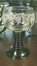Vintage Luminarc Goblet Glass Etched EMERALD Green Stem Grapevines France