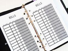 Personal size planner inserts refill bill tracker - filofax day-timer kikki k