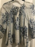Joie Blue And White Floral Print Silk Blouse Size XS