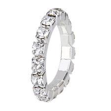 3x elastic silver tone rhine stone Crystal a row toe ring 3mm Bridal jewelry T1