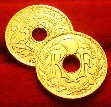 25    CENTIMES   LINDAUER  OR/GOLD PL  1929  RARE EDITION  LIMITEE