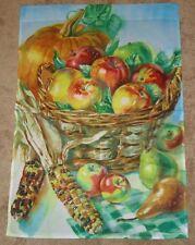 "Basket Of Apples & Indian Corn Autumn Decorative Art Flag 28"" x 40"" New"