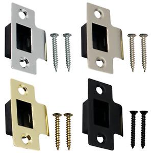 Strike Plate Keep Latch Door Frame + Dust Box +Screws Brass Nickel Chrome Black