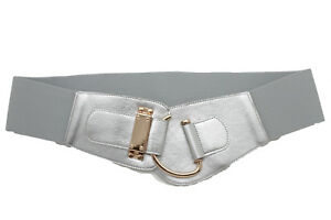 Women Metallic Silver Elastic Hip High Waist Belt Bling Gold Hook Buckle L XL