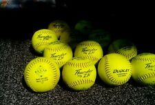 "One Dozen DUDLEY THUNDER ZN optic yellow 4A-068Y gently used 12"" softballs."