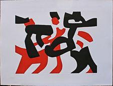 Carla ACCARDI acquatinta Composizione Rosso e Nera 56x76  Rubinart
