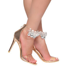 9bb4f76043f New Lucite Clear Open Toe Jeweled Gemstone Ankle Strap Cuff Sandal Stiletto  Heel
