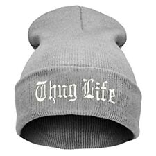 """Thug Life""  EMBROIDERED CUFFED BEANIE GREY / WHITE  SKULL CAP Free Shipping"