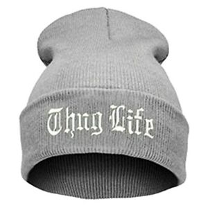 """""""Thug Life""""  EMBROIDERED CUFFED BEANIE GREY / WHITE  SKULL CAP Free Shipping"""