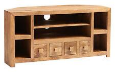 Solid Light Mango Wood Corner TV LCD Plasma Cabinet Stand Unit | Dakota Range