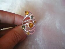 Baltic Amber Multi coloured ring, Size L/M, set in 4.7 grams of 925 Sterling Sil