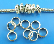 100PCs Silver Tone Ring Spacers Beads. Fit Charm Bracelet 7mm Dia.