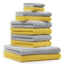 """Lot de 10 serviettes """"Premium"""" jaune et gris argenté, 2 serviettes de bain, 4 se"""