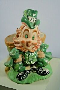 "Vintage Lefton St Patricks Day Leprechaun Planter, from Japan 1960s, 5.75"" Irish"