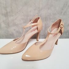 Leona Edmiston Nude T Strap Stilletto Patent Leather Shoe 37 (Aus 6 ) Free Post