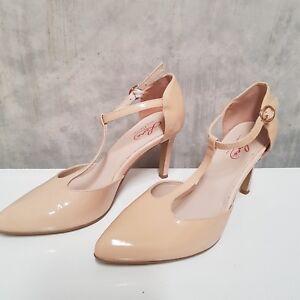 Leona Edmiston Nude T Strap Stiletto Patent Leather Shoe 37 Aus 6  Free Post