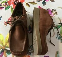 Clarks Brown Wallabee Suede Moccasin Lace Up Nubuck Shoes Size 7