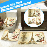 US 3Pcs Eiffel Tower Flannel Floor Pedestal Rug Lid Toilet Cover Bath Carpet Mat