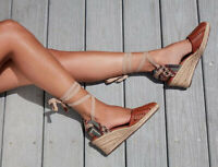 Schutz Dieniffer Caramel Woven Leather Espadrille Mid Wedge Tie Up Sandal