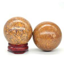 40MM Fossil Elephant Skin Jasper Ball Sphere Healing Crystal Natural Mineral