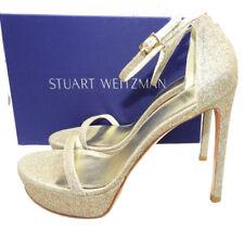 Stuart Weitzman Size 9 Bebare Glitter Platform Bridal Sandals HEELS Shoes
