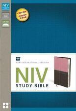 NIV STUDY BIBLE ZONDERVAN IMITATION LEATHER PINK. LAYS FLAT ED. BRAND NEW W/ BOX