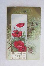 b90 Antique vintage postcard Christmas Gold Embossed Flowers