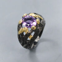 Natural Amethyst 925 Sterling Silver Ring Size 7/RR17-0928