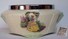 Weatherby Hanley Falcon Crinoline Lady yellow large serving bowl silver rim