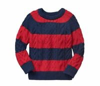 Baby GAP Sz 2T, 3T Red Blue Stripe NEW Cable Knit Holiday Crew Sweater Pullover
