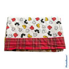 Vtg? Disney Mickey Mouse Twin Flat Bedding Sheet White Body Parts Plaid Trim