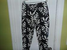 Focus 2000 Cropped Pants Size 12 Black & White Print Linen & Cotton