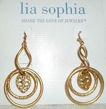 CUTE NEW LIA SOPHIA GOLD GLANCE DANGLE DROP EARRINGS