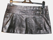Zara trf real leather micro mini skirt size 10 eur 38