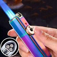 Jobon lighter Triple Torch Windproof Lighter w/Cigar Punch In Rainbow w/gift box